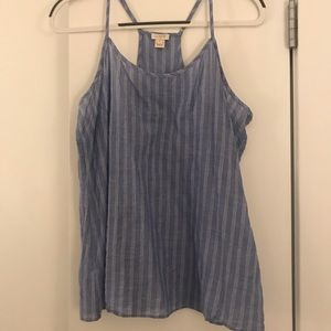 Blue and white striped J Crew racerback tank top